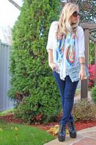 sky blue Tie Rack scarf - black Jeffrey Campbell boots - navy Zara jeans