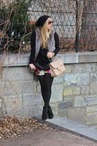 heather gray Vero Moda vest - black H&M sweater - light pink Browns purse