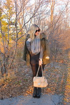 light pink Browns purse - army green H&M jacket - gray H&M sweater