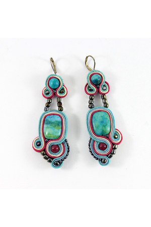 soutache jasper WiolaJ earrings