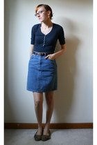 hollister shirt - vintage skirt - Blowfish flats - Vinca earrings