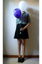 black Old Navy skirt - gold pin vintage accessories - army green H&M top