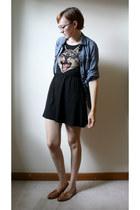 black cat face dress H&M dress - blue JCrew blouse