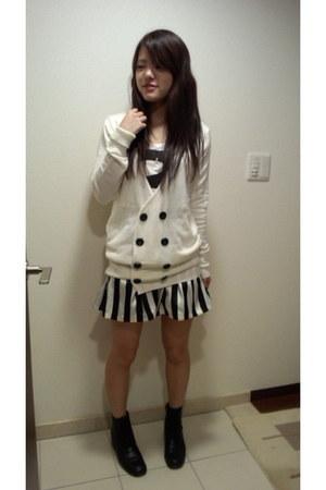 white Vanquish shirt - white Vanquish cardigan - black Vanquish skirt
