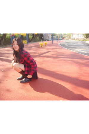 black cecil mcbee skirt - black boots - red shirt