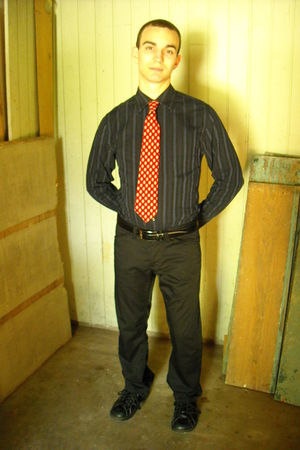 black blue stripes Utility shirt - black leather oxford Dr Martens shoes