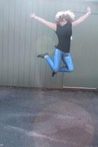 black savers shoes - blue tardis Black Milk leggings - black Valley Girl top