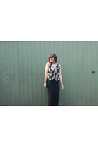 dark gray printed vintage vest - navy maxi Brandy & Melville skirt