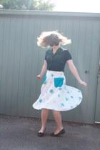 blue flower print vintage skirt - navy Sportscraft blouse - black Target flats
