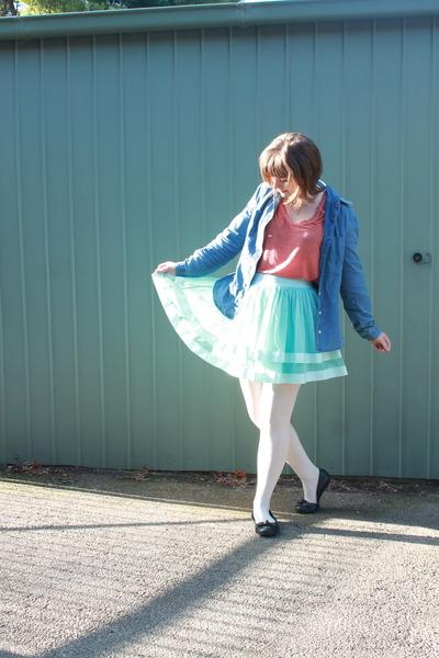 light blue Lucy in the sky skirt - sky blue vintage Armani Jeans jacket