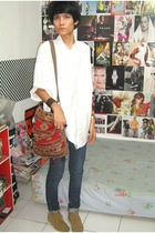 banana republic shirt - Zara jeans - Minnetonka boots - Zara accessories - Zara