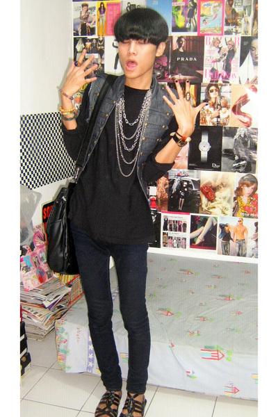 black Zara top - blue vest - black Zara jeans - black custome made shoes - black