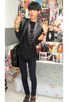 black Zara top - blue vest - black Zara jeans - black custome made shoes - black