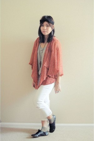 orange chiffon Forever 21 cardigan - off white Aeropostale jeans