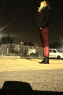 Black-unbranded-boots-red-pull-bear-jeans