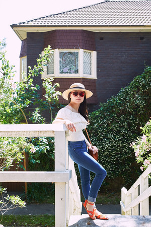 Tea and Sympathy top - neuw jeans - Forever 21 hat - from Italy bag