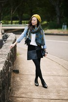 pleather suede MinkPink skirt - leather ankle Topshop boots - Sportsgirl hat