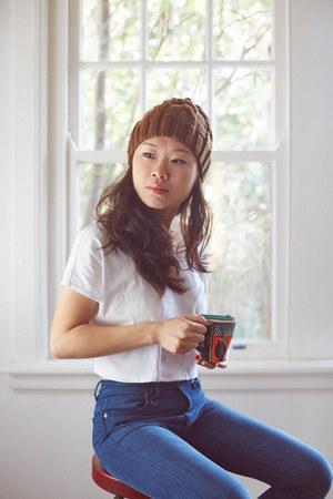 neuw jeans - wool handmade hat - crop yesimfrench top