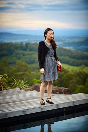 lace vintage dress - from Italy bag - fluffy from bangkok cardigan - Zara flats