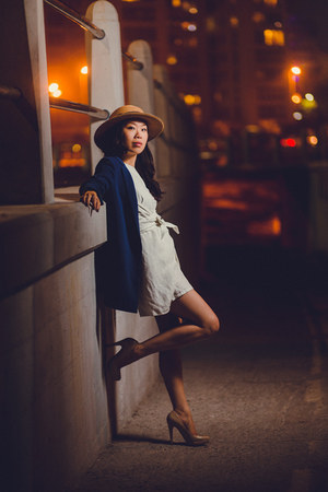 Forever 21 hat - NAINGIRL blazer - nude patent Aldo heels