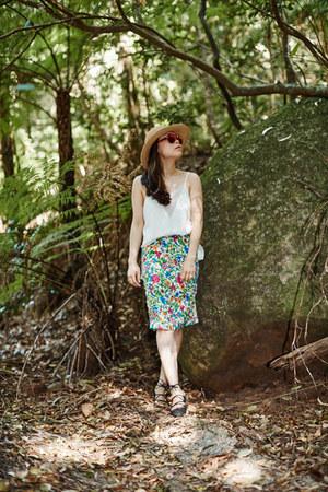 Forever21 hat - floral from bangkok skirt - Zara flats - camisole Aijek top