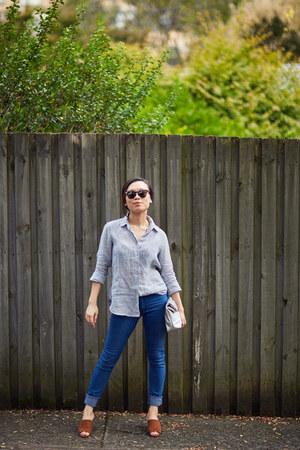 neuw jeans - linen Uniqlo shirt - Miseoul purse - Roc Eyewear sunglasses