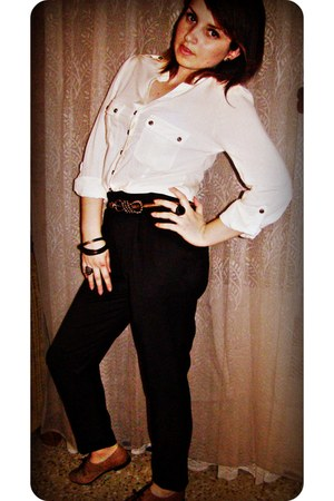 black Zara pants - eggshell BLANCO blouse