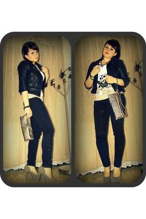 black jeans Stradivarius jeans - black leather Bershka jacket - silver Bershka b