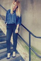 navy silk vintage shirt - black cigarette Marks & Spencer pants