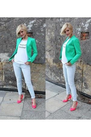 H&M jacket - Zara jeans - H&M heels - shameless t-shirt