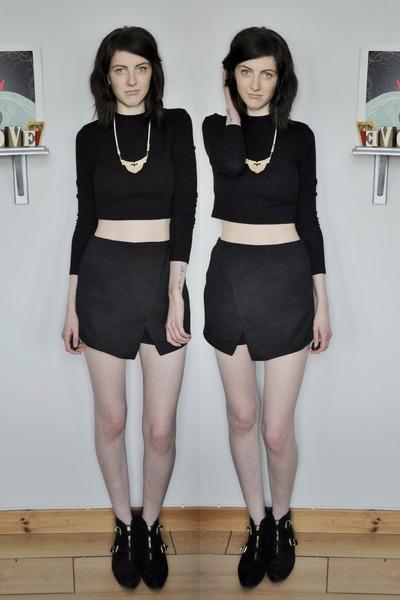 black M&S boots - black Topshop shorts - black H&M top