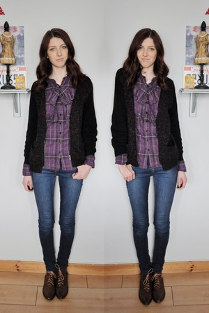 next shirt - new look boots - new look jeans - H&M cardigan