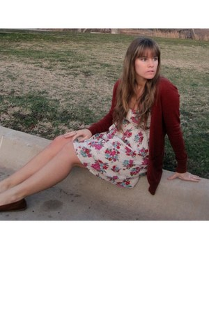 floral Billabong dress - brick red Forever 21 cardigan