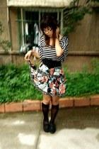 black Target shoes - black tights - blue thrifted at crossroads skirt - black fl