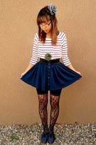 black floral Ebay tights - black Ebay shorts - red Forever 21 top - navy Forever