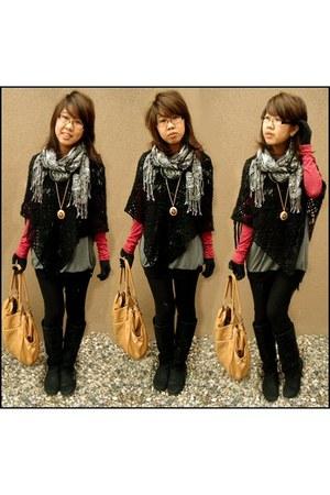 red Charlotte Russe top - charcoal gray vintage dress - black vintage coat - bla