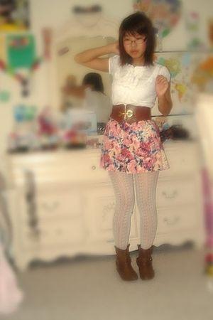 white Ross blouse - brown Urban Outfitters belt - pink Forever 21 skirt - white