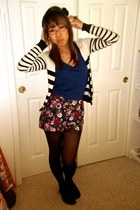 navy floral Forever 21 shorts - camel 4 cardigan - blue American Eagle top - bla