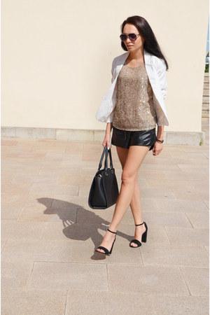 Bershka jacket - reserved shorts - Cubus t-shirt - Stradivarius heels