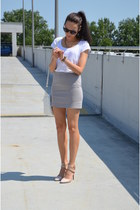 H&M skirt - H&M t-shirt - Stradivarius heels