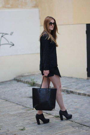 black prisma bag Alexander Wang bag - black Zara shorts - black asos pumps