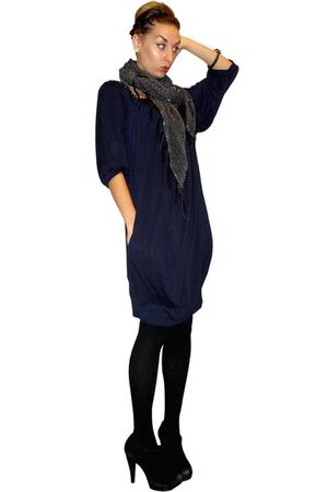 blue Cest Moi dress - black Heritage 1981 scarf - black merona tights - black BC
