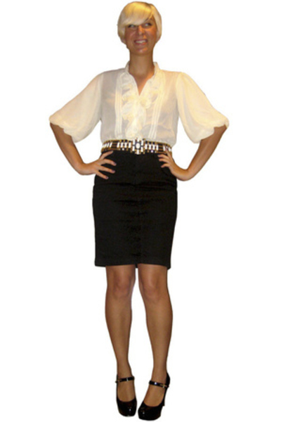 LoveStitch blouse - vintage belt - H&M skirt - guess by marciano shoes