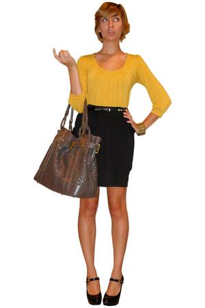 forever 21 top - Xhileration skirt - H&M belt - Deena & Ozzy purse - forever 21