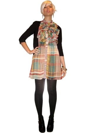 forever 21 dress - forever 21 sweater - Target tights - forever 21 boots - Bijou