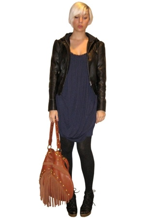 Cest Moi dress - forever 21 jacket - Target tights - Delicious shoes - purse