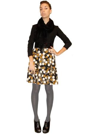 black vintage dress - silver BDG tights - black Urban Outfitters scarf - black F