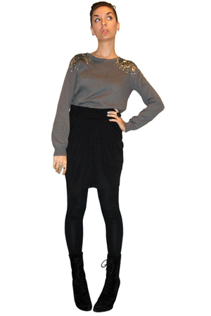 silver h&m divided sweater - black Xhileration skirt - black Cherish leggings -