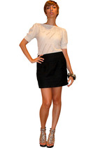 vintage blouse - forever 21 skirt - bracelet - sam edelman shoes