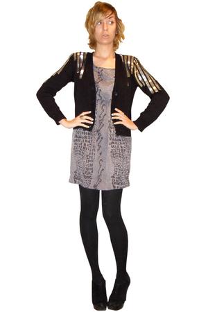 black H&M cardigan - silver Audrey dress - black merona tights - black BCBGenera